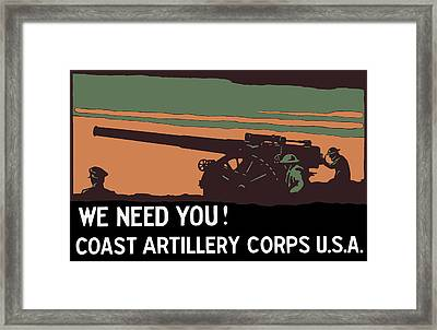 We Need You - Coast Artillery Corps Usa Framed Print by War Is Hell Store
