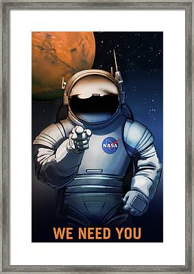 We Need You On Mars Framed Print by Susan Wooler