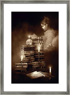 We Read To Know We Are Not Alone Sepia Color Framed Print by Georgiana Romanovna