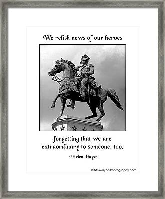 We Relish News Of Our Heroes Framed Print by Mike Flynn