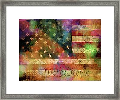 We The People Distressed Grunge Usa American Flag With Washington Hidden Portrait Framed Print by Design Turnpike
