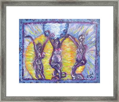Framed Print featuring the painting We Three by Shelley Bain