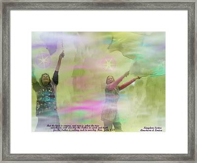 We Worship In Spirit And In Truth II With Inspirational  Verse Framed Print by Anastasia Savage Ealy