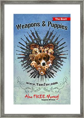 Weapons And Puppies Framed Print