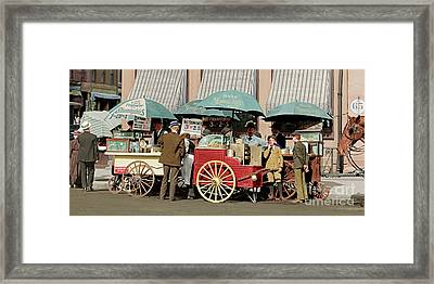 Wear Youngs Hats At Frankfurter Hot Dog Stands 3 Cents Each 20170707 Colorized Framed Print