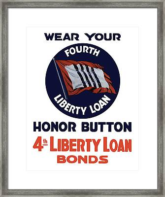 Wear Your Honor Button Framed Print by War Is Hell Store