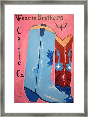 Wearin Brothers Cattle Co.  Framed Print by Bud Cassiday