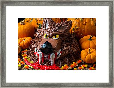 Wearwolf Cake With Pumpkins Framed Print by Garry Gay