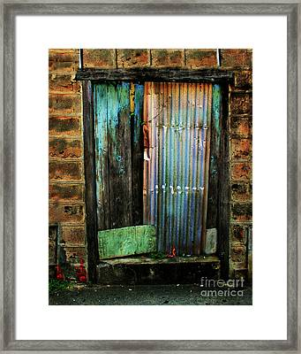 Weatherd Entry Framed Print by Perry Webster