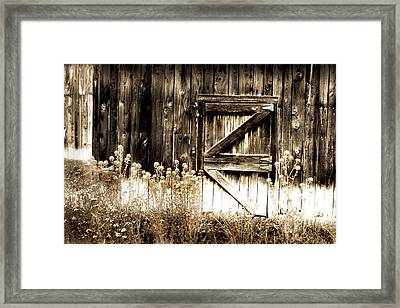 Weathered Barn Door Framed Print by Gray  Artus