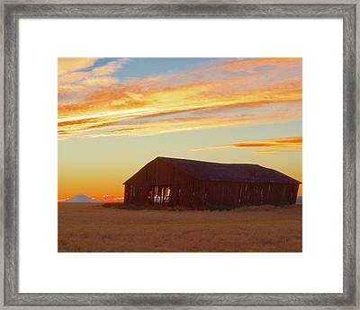 Weathered Barn Sunset Framed Print