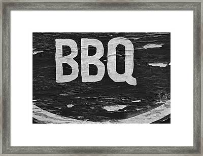 Weathered Bbq Sign Framed Print by Robert Ullmann