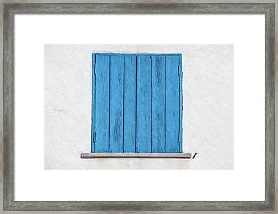 Weathered Blue Shutter Framed Print by David Letts