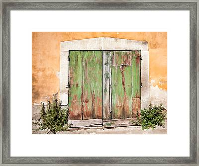 Weathered Green Door Of Tuscany Framed Print