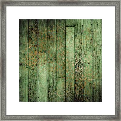 Weathered In Olive Green Framed Print