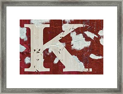 Weathered Letter K Framed Print by Carol Leigh