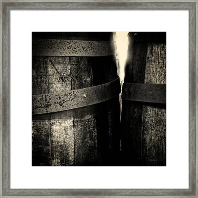Framed Print featuring the photograph Weathered Old Apple Barrels by Bob Orsillo