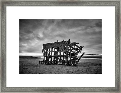 Weathered Rusting Shipwreck In Black And White Framed Print