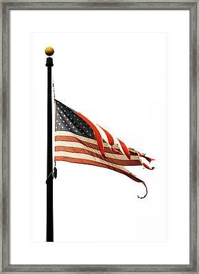 Weathered Usa Flag At Half-mast Framed Print