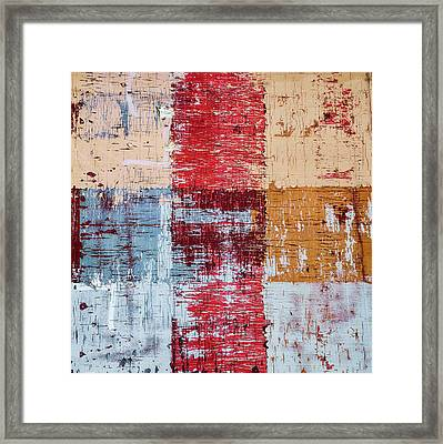 Weathered Wood Colorful Crossing 1 Of 3 Framed Print
