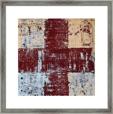 Weathered Wood Colorful Crossing 2 Of 3 Framed Print