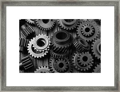 Weathered Worn Gears Framed Print by Garry Gay