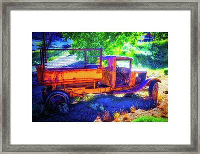 Weathered Yellow Truck Framed Print by Garry Gay