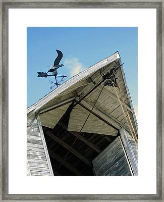 Weathervane Over The Hay Loft Framed Print by Laurie With