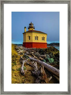 Weatherworn Coquille River Lighthouse Framed Print