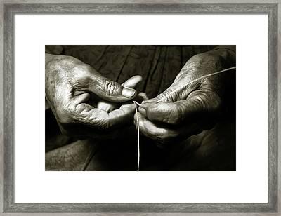 Framed Print featuring the photograph Weavers Hands by John Hix