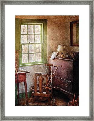 Weaving - In The Weavers Cottage Framed Print by Mike Savad