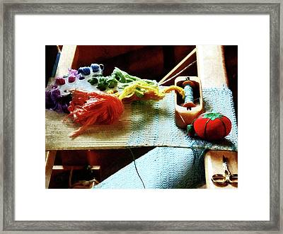 Weaving Supplies Framed Print by Susan Savad