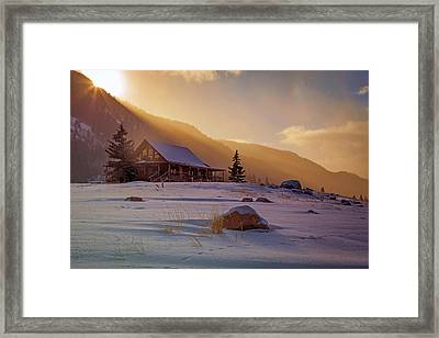 Weber Canyon Cabin Sunrise. Framed Print by Johnny Adolphson