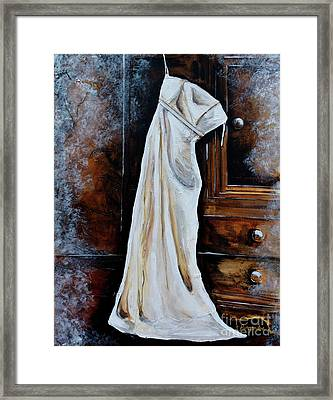 Wedding Dress On Armoire Framed Print