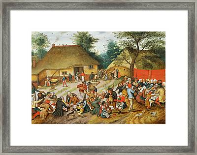 Wedding Feast Framed Print by Pieter the Younger Brueghel