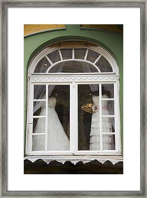 Wedding Gowns In Window Framed Print by Newnow Photography By Vera Cepic