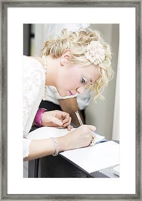Wedding Guest Signing Wedding Guestbook Framed Print