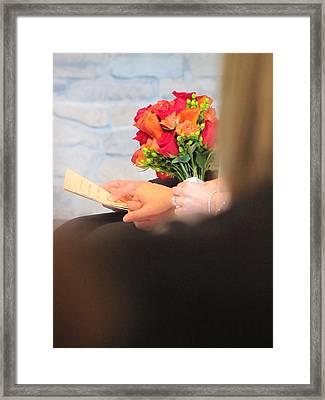 Wedding Hands Framed Print by Kelly Mezzapelle