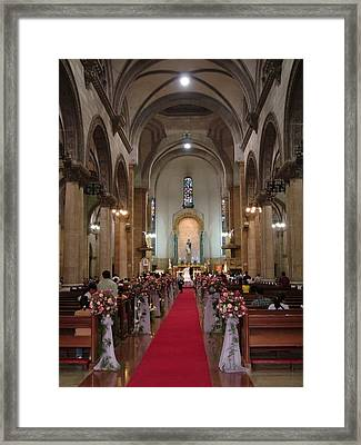 Wedding In Manila Cathedral Framed Print by Mike Holloway
