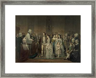 Wedding Of George Washington And Martha Framed Print by Everett