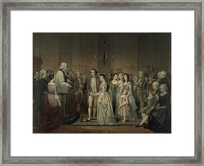 Wedding Of George Washington And Martha Framed Print