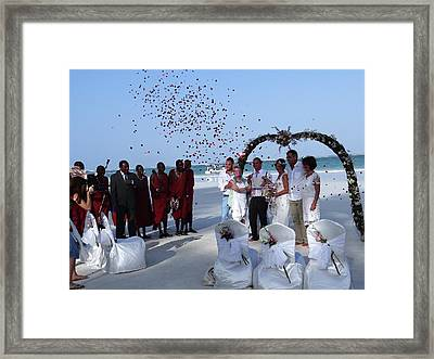 Wedding Party In Rose Petals Framed Print