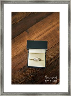 Wedding Ring In Box Framed Print by Taylor Martinsen