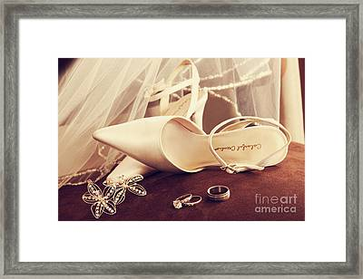 Wedding Shoes With Veil And Rings On Velvet Chair Framed Print by Sandra Cunningham