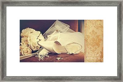 Wedding Shoes With Veil On Velvet Chair Framed Print by Sandra Cunningham