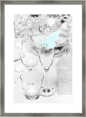 Wedding Table Decoration At Reception Framed Print by Jorgo Photography - Wall Art Gallery