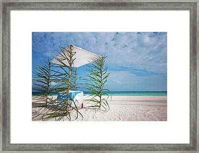 Framed Print featuring the photograph Wedding Tent On The Beach by Jenny Rainbow