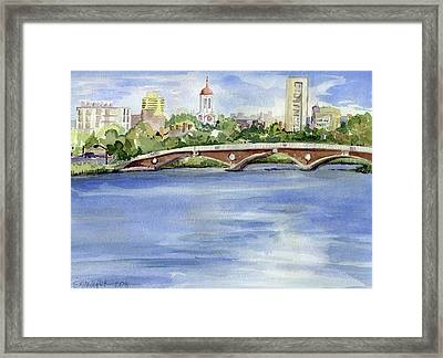 Weeks Footbridge Over The Charles River Framed Print by Erica Dale Strzepek