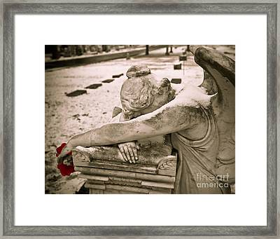 Weeping Angel In Winter Framed Print by Sonja Quintero