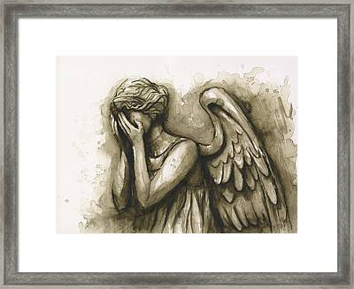 Weeping Angel Framed Print by Olga Shvartsur